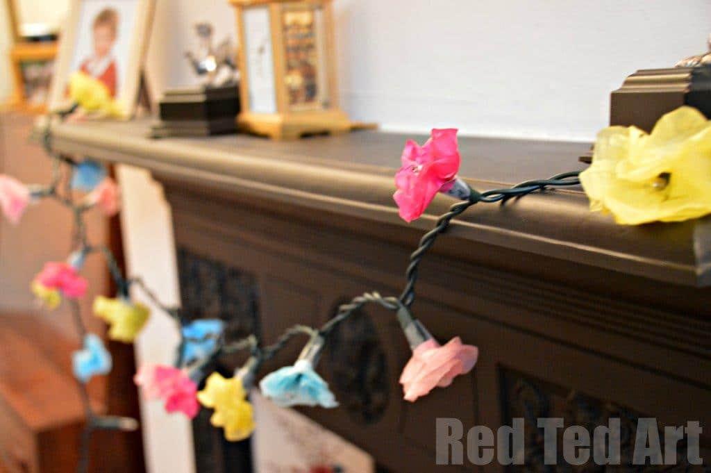 Tissue Paper Flower Fairy Lights Red Ted Art