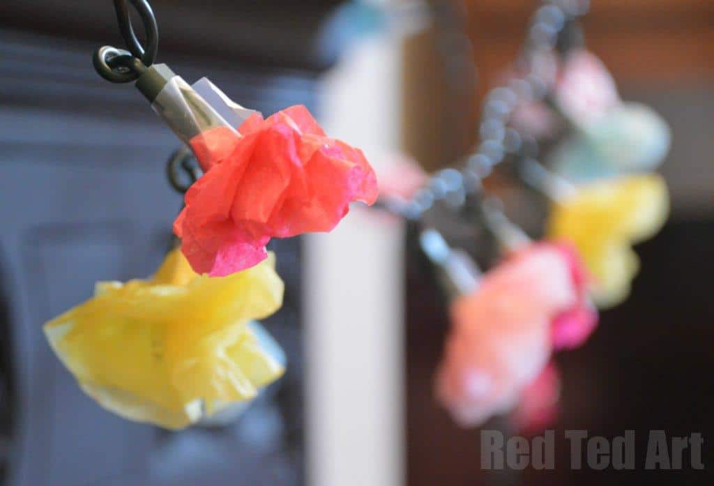 Spring crafts - Tissue Paper Flower Fairy Lights