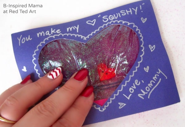A Squishy Heart Kids Valentine Card - B-Inspired Mama at Red Ted Art