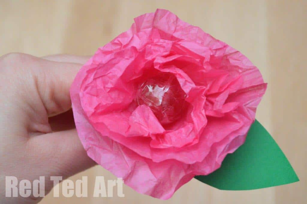 Tissue paper flower lollipops red ted arts blog lollipop flower crafts mightylinksfo