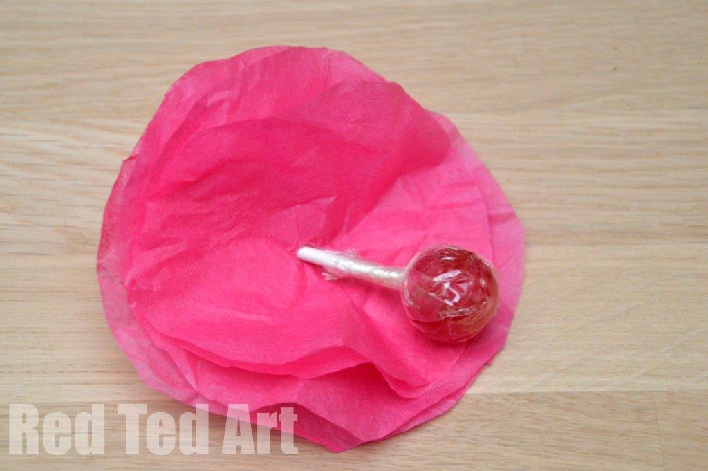 Tissue paper flower lollipops red ted arts blog lollipop flower how to mightylinksfo