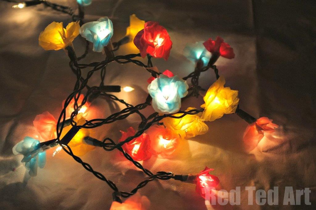Tissue Paper Flower Fairy Lights