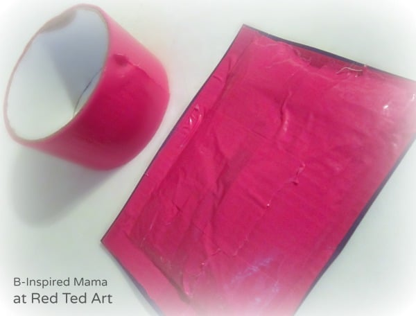 Taping up the Squishy Kids Valentine Card  – B-Inspired Mama at Red Ted Art