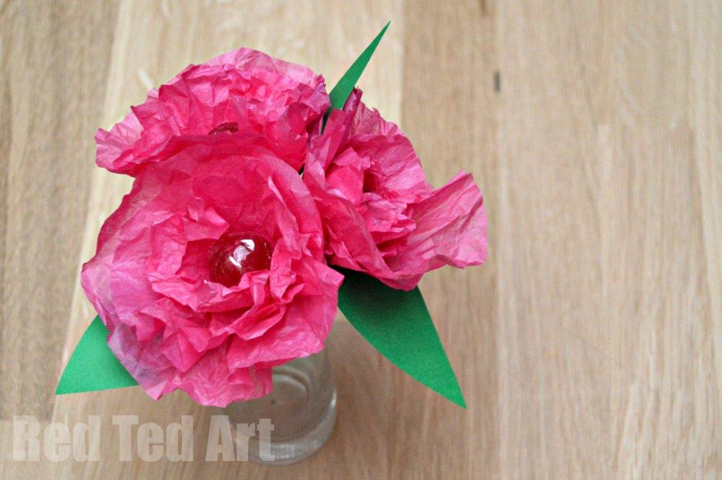 Tissue paper flower lollipops red ted arts blog tissue paper flower craft how to mightylinksfo
