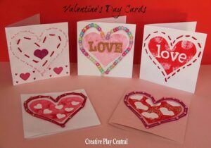Valentines' Cards for Kids - sewing and threading activity