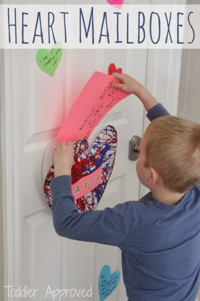 Easy Process Art Heart MAILBOX for Valentines. Learn how to make this Easy Valentine's Box for Preschoolers. So cute! #Valentines #preschool #mailbox #box #processart