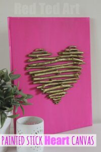Valentines Decorations: painted stick heart canvas