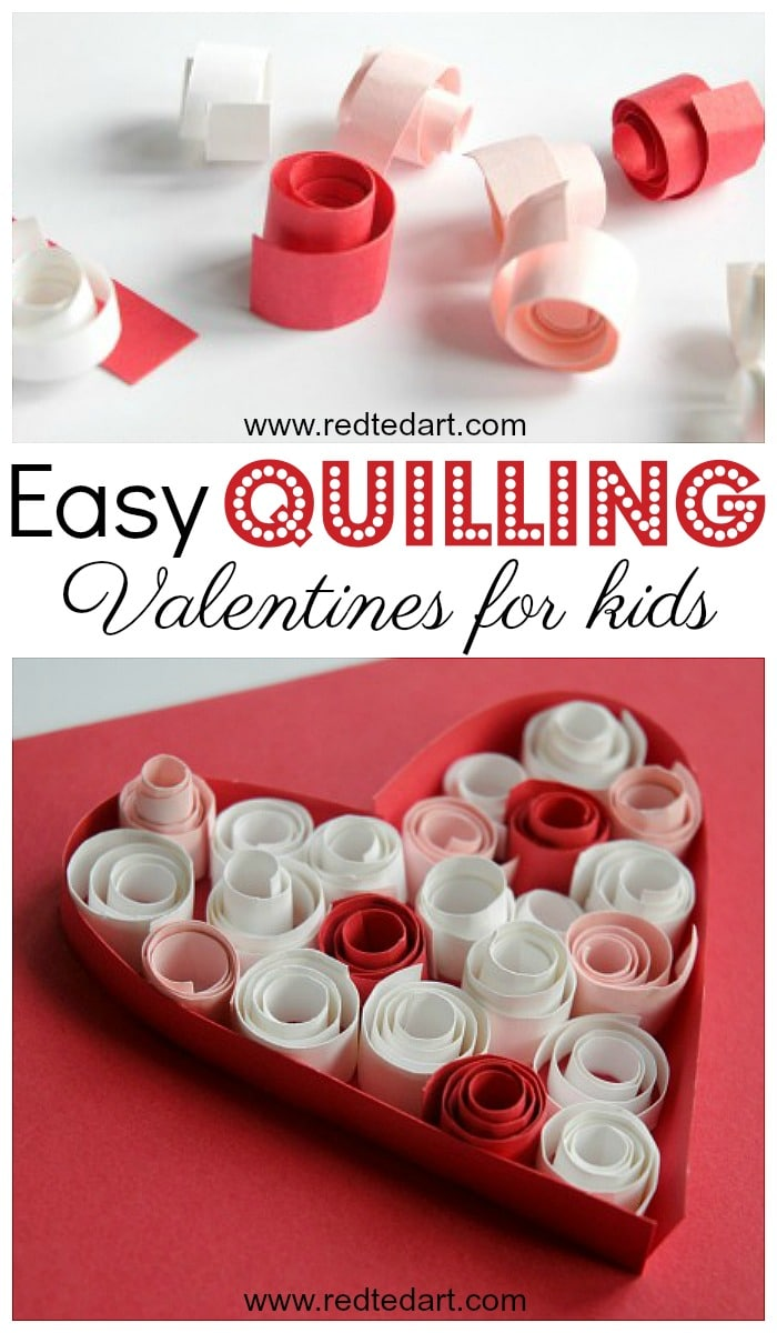 Easy Quilling for kids. Learn the basics of Paper Quilling with these great Paper Quilled Heart Cards for Valentines Day. #valentines #valentinesday #valentinesdaycards #valentinescards #hearts #papercrafts #quilling