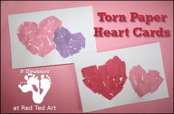 Torn Paper Heart Cards - a fantastic simple but oh so cute activity for preschoolers on Valentines Day. Easy handmade Valentines Card for Toddlers. Great for Finer Motor skills too.