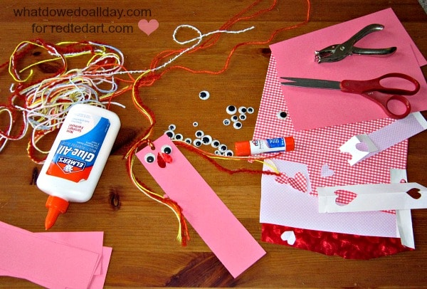 valentine gifts – materials to make bookmarks