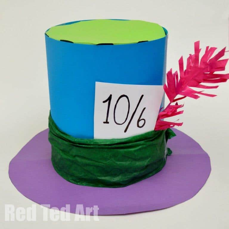 Paper Top Hat decorated as the Mad Hatter's Hat from Alice in Wonderland