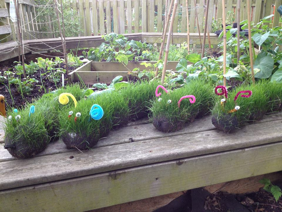 Spring Crafts - these grass head caterpillars are just SO MUCH FUN!!! The kids will love this gardening activity! #gardening #science #steam #gardeningforkids #kids #grassheads #planting