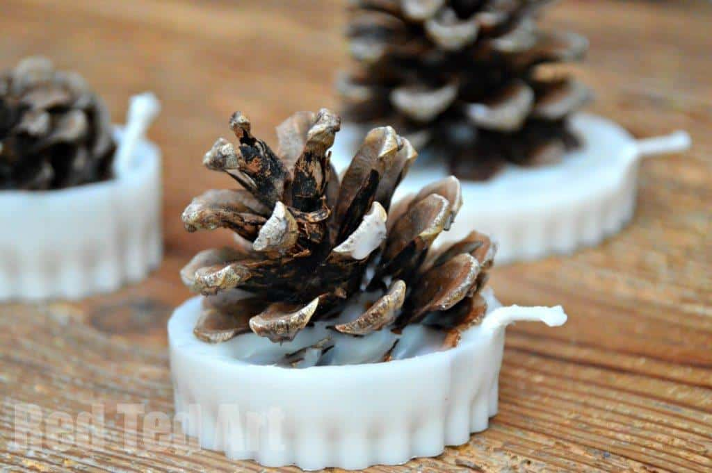 Pine Cone Crafts Fire Starter Candles
