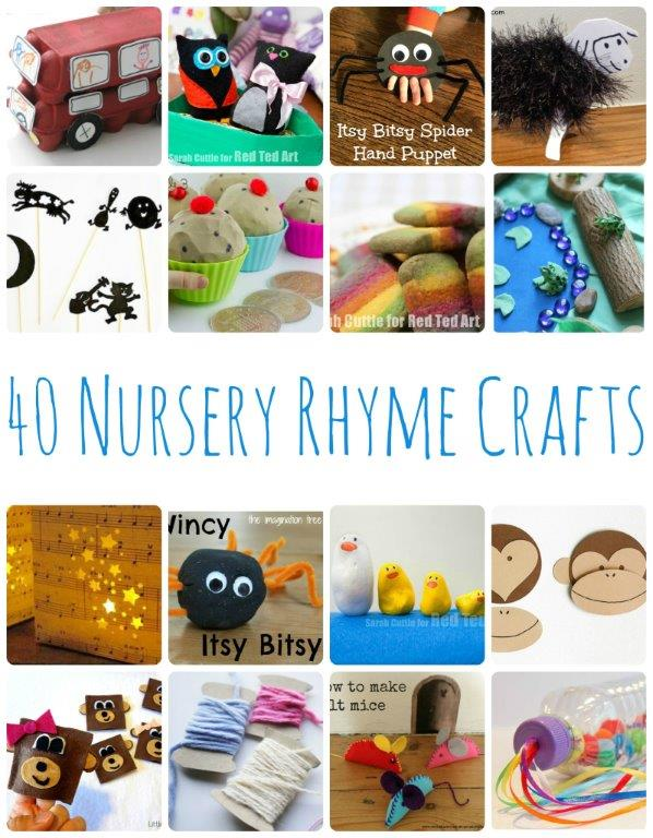 40 Nursery Rhyme Crafts - Fun and easy Nursery Rhyme Activities and Crafts for young kids. Bring those nursery rhymes to life with these fun Toddler Crafts! Extension ideas for rhyme time!