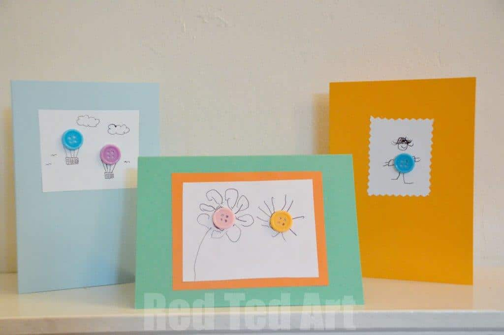 Art And Craft Ideas For Making Greeting Cards Part - 24: Button Art Cards