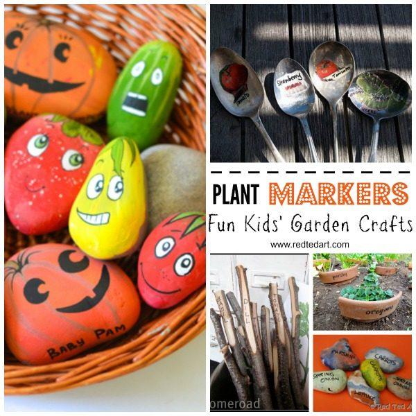 DIY Garden Crafts - how to make plant markers from rocks, twigs and recycled plant markers. Get kids invovled in gardening this spring #gardencrafts #plantmarkers #forkids