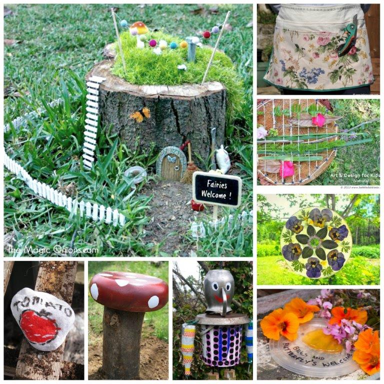 Garden Crafts - excited about the warmer weather and can wait to get into the garden? Here are some wonderful and delightful garden DIYs that you may want to check out. Something for everyone. From DIY Garden Aprons, to fairy houses and simple bug hotels for the kids. Great Garden Crafts for Kids and beyond!