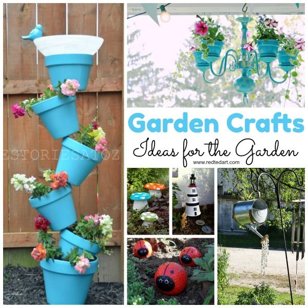 Garden Crafts - excited about the warmer weather and can wait to get into the garden? Here are some wonderful and delightful garden DIYs that you may want to check out. Something for everyone. From DIY Garden Aprons, to fairy houses and simple bug hotels for the kids. Great Garden Crafts for Kids and beyond! #gardencrafts #grownups #foradults
