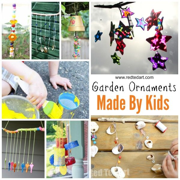 DIY Garden Crafts Ideas - adorable Garden Ornaments for kids to make. Love these homemade Windchime crafts to cheer up the garden all year round #gardencrafts #ornaments #forkids