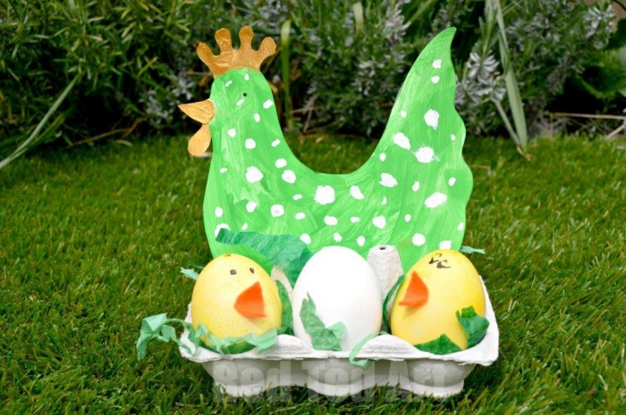 Easter Craft Chicks and Hen. Easy Hen & Chick Nest Craft for Toddlers. A fun Easter Craft for Preschoolers - love the Hen Template and adorable little Egg Chicks. Simple set up.