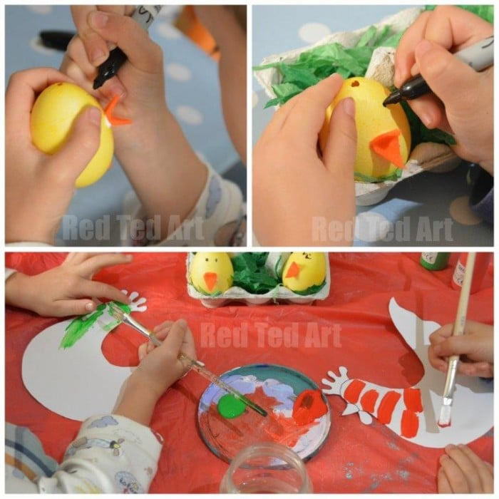 Easter Spring Craft for Preschoolers. Easy Hen & Chick Nest Craft for Toddlers. A fun Easter Craft for Preschoolers - love the Hen Template and adorable little Egg Chicks. Simple set up.