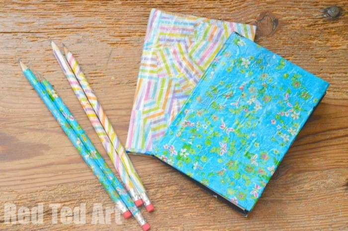 Gifts kids can make - decoupage notebooks