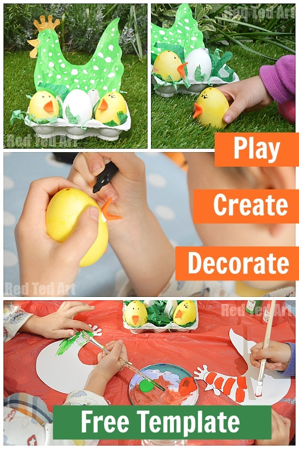 Free Template for YOU! Easter Craft Chicks and Hen. Easy Hen & Chick Nest Craft for Toddlers. A fun Easter Craft for Preschoolers - love the Hen Template and adorable little Egg Chicks. Simple set up.