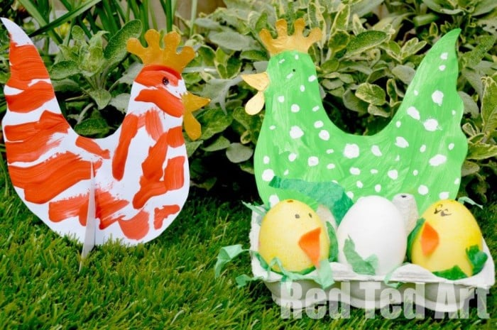 Hen and Chick Easter Craft. Easy Hen & Chick Nest Craft for Toddlers. A fun Easter Craft for Preschoolers - love the Hen Template and adorable little Egg Chicks. Simple set up.