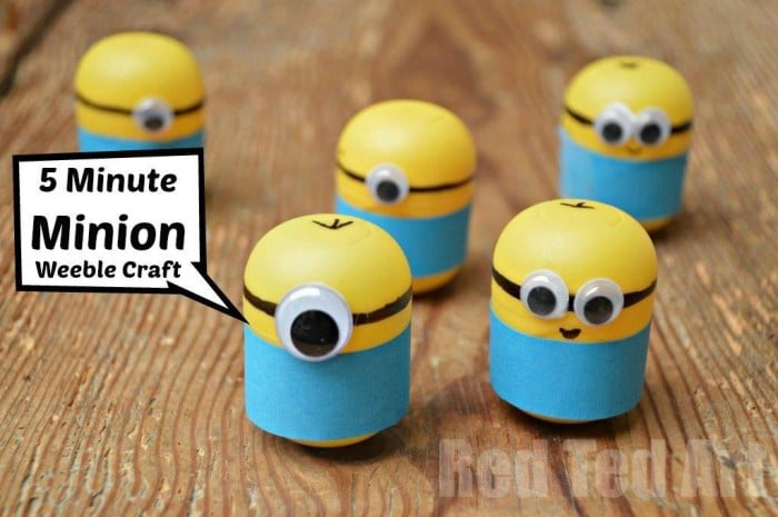 Minion Crafts Weebles Made From Kindersurprise Egg Capsules Red