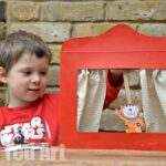 Cereal Box Puppet Theatre with Poppy Cat