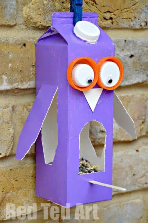 Juice Carton Crafts Bird Feeder - Super cute Owl Bird feeder made from old milk cartons. How fun?!