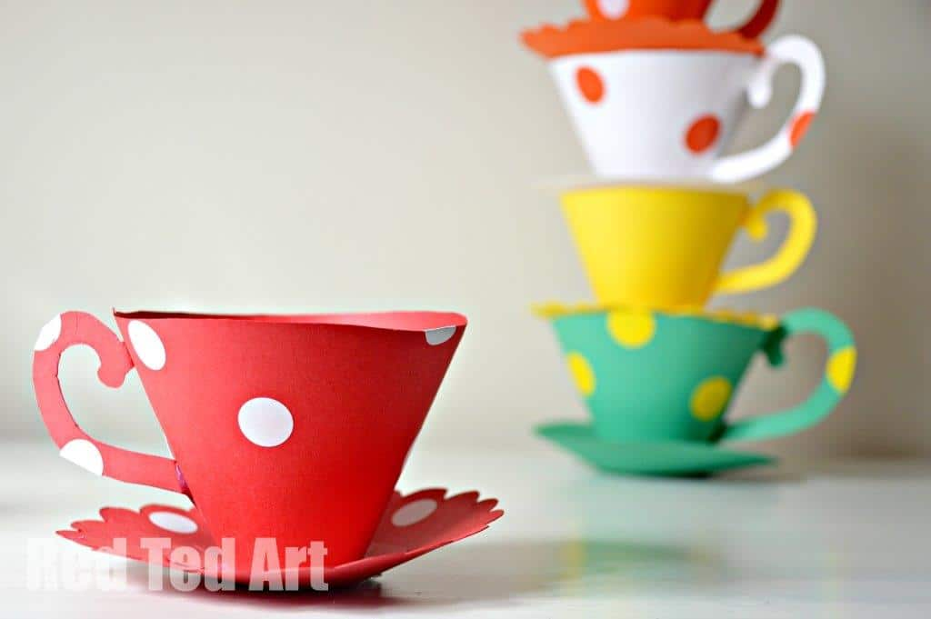 Paper Teacup Printable Tea Party Games Red Ted Arts Blog