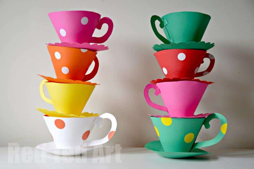 Paper Teacup Printable Tea Party Games Red Ted Art Make Crafting With Kids Easy Fun