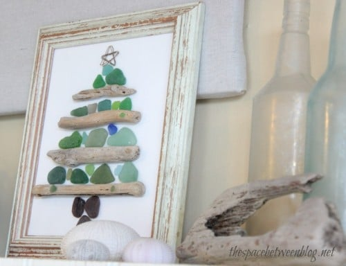 Sea glass crafts - christmas tree