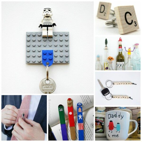 Collage of Father's Day Gift Ideas including keychains and cufflinks