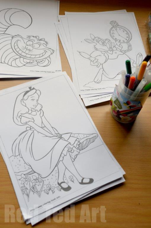 Alice in wonderland activities colouring sheets red Alice and wonderland art projects