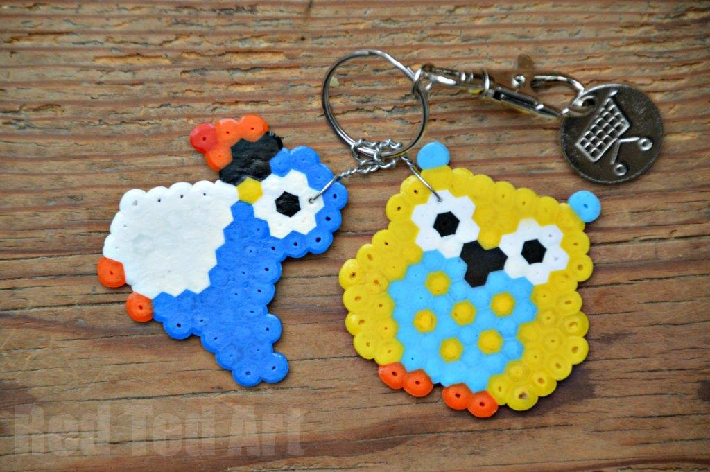 Gifts kids can make hama bead keyring owls red ted art for Bead craft ideas for kids