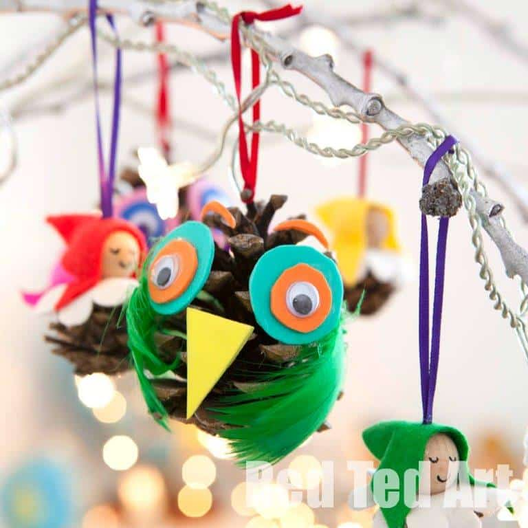 Pine cone owls red ted art 39 s blog for Pine cone crafts for children