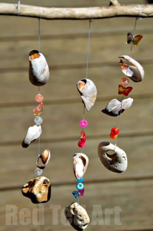Seaside Windchime Craft from shells, stones and pony beads