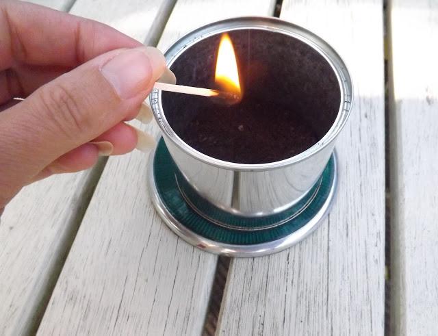 burning coffee grounds