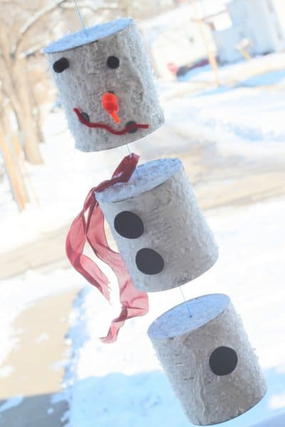 tin can crafts snowman