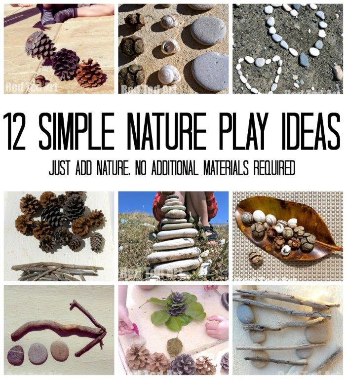 12 Nature Play Ideas - having fun with nature items outdoors. Easy Summer Games with Nature #nature #summer #play #games #preschool
