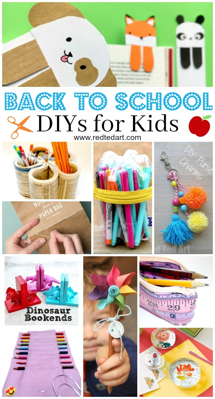 Back to School DIY Ideas - Stationery Crafts ! Oh how we love stationery and getting ready for Back To School.There are so many fab School Supplies DIY Ideas out there, you could be craftingw ith the kids all summer. So. Get ready for Back To School with these great Back to School DIY Ideas for Kids. From Pencil Toppers, to Bookmarks, DIY Pencil Cases and Notebooks, to colourful back pack charms! Enjoy.