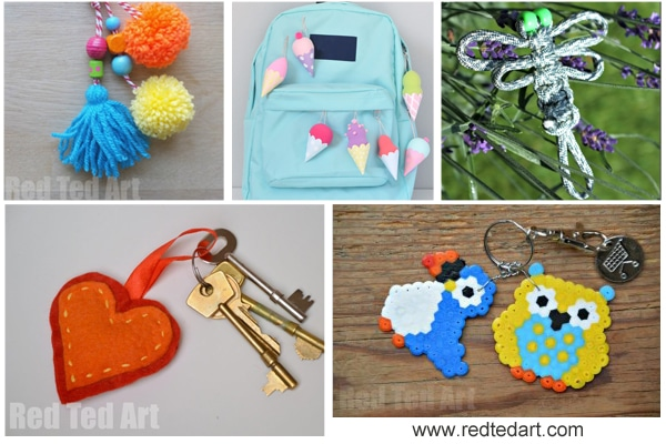 Back to school diy ideas stationery crafts red ted arts blog diy keychains and diy zipper pulls back pack charms solutioingenieria Image collections