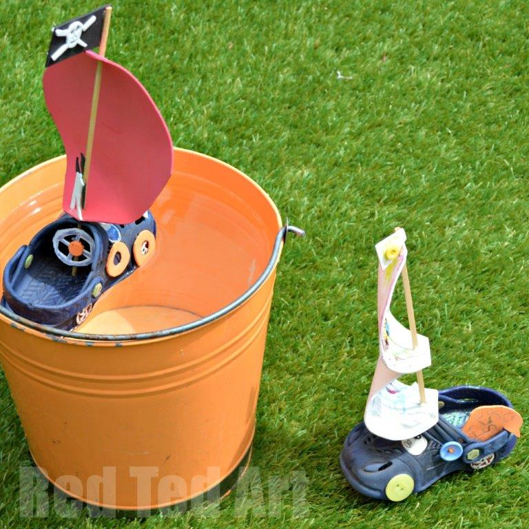 Recycled Croc Boat Craft for Kids