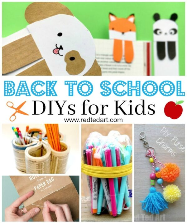 Collage of back to school craft ideas for kids, including cute bookmarks, pencil pots, notebooks and zipper pulls!