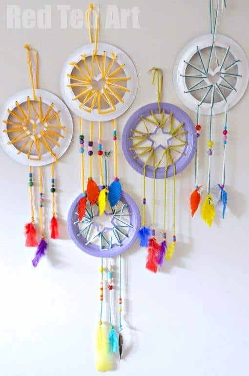 Wall Hanging Craft Ideas For Kids Part - 47: Paper Plate Crafts For Kids Make Super Cute Dream Catchers With Heart U0026  Star Details