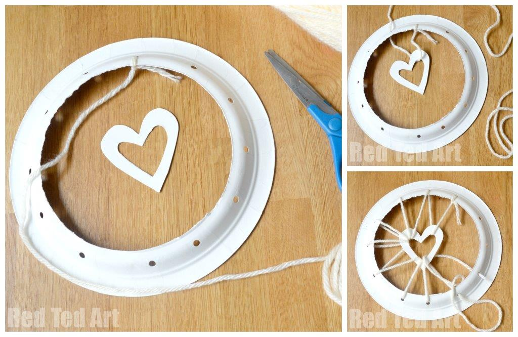 How to Make Paper Plate Dream Catchers & Paper Plate Crafts - Dream Catchers with Hearts - Red Ted Artu0027s Blog