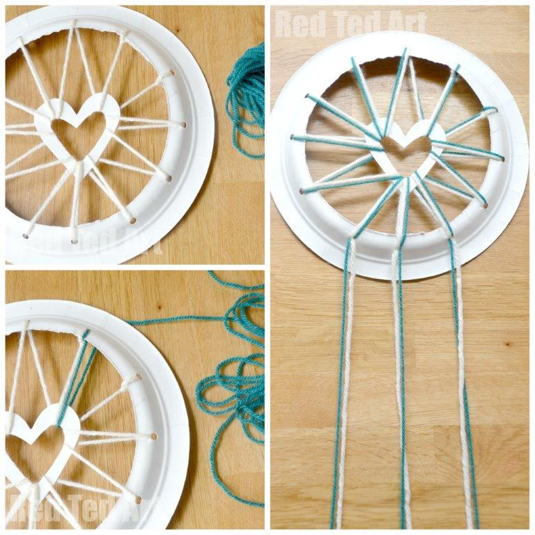 Paper plate crafts dream catchers with hearts red ted for Dream catchers how to make them