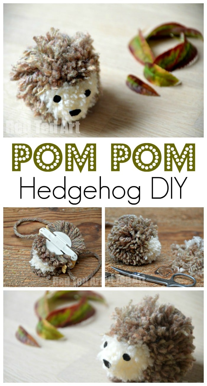 Super cute and easy Pom Pom Hedgehog. These pom pom hedgehogs are quick and easy to make and totally adorable. My daughter is addicted (watch her video tutorial too... she was only 5 at the time. Awww).